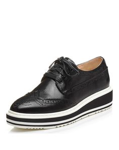 #VIPme Black Cow Leather Wingtip Wedge Brogues ❤️ Get more outfit ideas and style inspiration from fashion designers at VIPme.com.