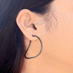 CHRISTMAS GIFT 14k Gold Studded Diamond Hoop Earrings Sterling Silver Jewelry PY #Handmade