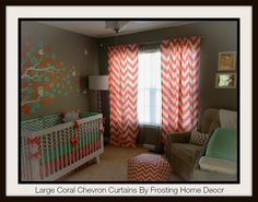 Pair of Large Coral Chevron Curtains Window by FrostingHomeDecor, $50.00
