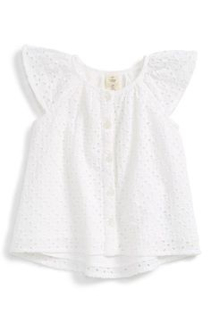 Free shipping and returns on Tucker + Tate Eyelet Flutter Sleeve Tunic (Baby Girls) at Nordstrom.com. Flutter sleeves add to the sweet charm of an airy tunic cut from crisp eyelet cotton.