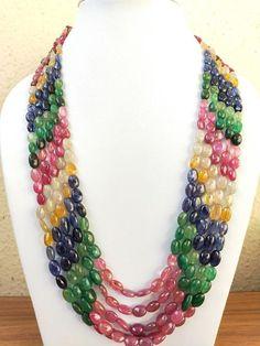 Gemstone Necklace, Beaded Necklace, Indian Jewelry, Blue Sapphire, Emerald, My Etsy Shop, Handmade Items, Gemstones, Beads
