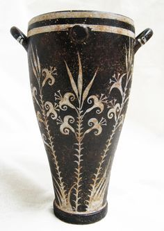 Black Minoan vase with white lilies - Reproduction of original In The Heraklion Museum, Crete.