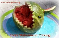 Check out this adorable Shak Carved Watermelon.  What a great centerpiece for your summer party!  ~ Mummy Deals