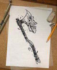 Tattoo Design Drawings, Skull Tattoo Design, Tattoo Sketches, Tattoo Designs, Axe Tattoo, Skull Hand Tattoo, Black Art Tattoo, Totenkopf Tattoos, Hand Tattoos For Guys