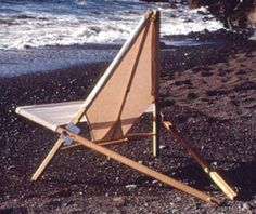 """Jay Martin Chair, 1998  This folding camp chair is a structural invention hearkening to campaign furniture and tent architecture. It explores the physical, psychological and ecological parameters of comfort. Made in limited editions of black locust with hemp canvas and stainless steel fasteners, it folds to fit into a 6"""" D x 42"""" L canvas sleeve."""