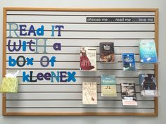 Read it with a box of Kleenex : tear jerkers : fiction display at MEI Secondary Library - Read It and Weep Teen Library Displays, School Displays, Library Science, Library Activities, Middle School Libraries, Elementary Library, Public Libraries, Library Lessons, Library Ideas