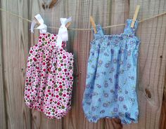 Its been ages since I've sewn anything for the little ladies of the household. These little rompers are super easy to do, and you c...