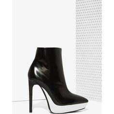Jeffrey Campbell Divert Leather Bootie ($195) ❤ liked on Polyvore featuring shoes, boots, ankle booties, black, leather booties, platform booties, high heel booties, bootie and black boots