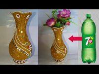 6 All Time Best Tricks: Hot Pink Vases decorative vases ideas.Clear Vases How To Make hot pink vases. Plastic Bottle Flowers, Plastic Bottle Crafts, Recycle Plastic Bottles, Plastic Vase, Illustrations Pastel, Vase Transparent, Paper Art Design, How To Make Decorations, Vase Design