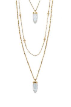 For a layered look, drape on this gold quartz necklace and hit the town. The Aria Pendant Necklace from Stella & Dot is multi chain with many ways to wear.
