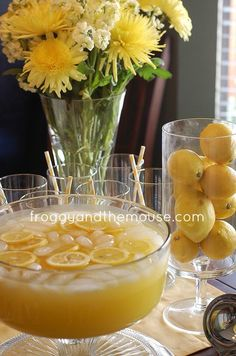 Yummy pineapple-lemonade punch! Very refreshing, very crisp … perfect for a baby shower! I found the recipe on Pinterest, but here it is for y'all as well: 1 cup Countrytime Lemonade mix {or the likes} 2 cups cold water 1 can of chilled pineapple juice {46 oz} 2 cans chilled Sprite {or the likes} Mix together and add lemon slices to make pretty