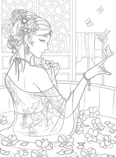 NEW The Imperial Palace Chinese coloring book Chinese People Coloring Pages, Cute Coloring Pages, Fairy Coloring, Adult Coloring Pages, Coloring Books, Manga Coloring Book, Black And White Drawing, Anime Art Girl, Line Art