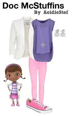 Doc McStuffins by acidicstef on Polyvore featuring polyvore, fashion, style, Pedro del Hierro, Converse, West Coast Jewelry, Accessorize, disney, disneybound and docmcstuffins