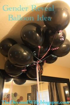 Cute BLOG!! Baby Gender Reveal Party Ideas: Put Confetti Gender color inside balloons and have family pop balloons to find out what the gender is!