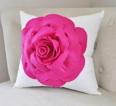 Trendy Nursery Wall Decor, Throw Pillows, Gifts & More by bedbuggs Dorm Pillows, Pillow Room, Throw Pillows, Handmade Pillows, Handmade Gifts, Hot Pink Roses, Apartment Makeover, Nursery Wall Decor, White Pillows