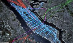 Time to work: New York's multi-layered morning rush hour detailed by the combined pathways of ferries (orange dots), commuter rail services, (green purple and red) and the bus services (blue)