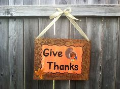 Happy Thanksgiving Give Thanks Decoration Sign Hand by ArtSortof, $15.00