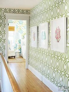 you don't have to have a baby to add a little whimsy to a hallway with framed swimwear