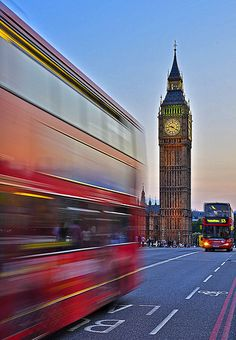 A ride on a London bus past Big Ben. London, UK.