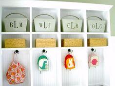Mudroom cubbies with diy custom storage bins with handle. Mudroom Cubbies, Mudroom Laundry Room, Hallway Storage, Front Closet, Front Hallway, Entryway Closet, Door Entryway, Foyer, Diy Shows