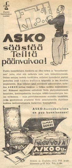 Asko säästää teiltä päänvaivaa! - Askon vanha lehtimainos vuodelta 1935