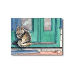 """Original watercolor painting ACEO 2.5x3.5"""". Can't the human see my food bowl's empty? Or something like that! *lol*  http://cgi.ebay.com/ws/eBayISAPI.dll?ViewItem&item=291090720105 Original ACEO Watercolor Painting Fluffy Long Haired Cat on Doorstep Art Crider   eBay © Jillian Crider"""