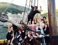 Misha Collins @mishacollins   This is right now with last year's http://GISHWHES.com  winners on a pirate ship @ King's Landing, Croatia. Boring.