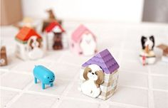 5×Qingsun Pack Puppy House it Cute Cartoon Animal Dogs Notes Stickers post it Memo Pads Bookmark Tab Scrapbook DIY Sticky Notes (Random Color)