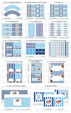 Printable DIY Blue Sports Theme Personalized Baby Shower LARGE Party Package. $30.00, via Etsy.