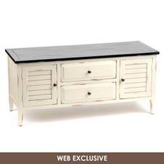 Wood Cream Media Cabinet