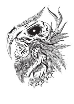 A selection of illustrations I& been working on as part of an ongoing series that I& calling Bonyard Tribe. The intention to to eventually produce my first small apparel range when I& happy with the design concepts. Body Art Tattoos, Sleeve Tattoos, Cool Tattoos, Art Sketches, Art Drawings, Illustrations, Illustration Art, Flash Art, Vector Art
