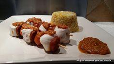 Ma p'tite tambouille pour bien man'Gé: Brochettes de poulet & chorizo, sauce poivron & ch...
