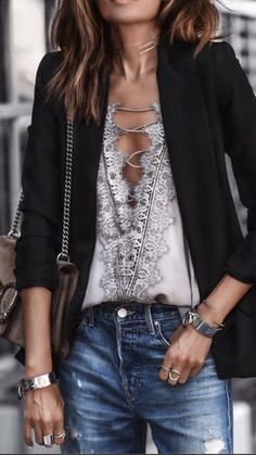 Great night out wardrobe must-haves: sexy, lacy camisole, black blazer, on-trend bag and distressed denim. Love this! (c/o Fashioned Chic)