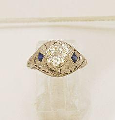 18K White Gold Art Deco .85ct. Diamond & Sapphire Engagement Ring - EGL Certificate - J34432 - pinned by pin4etsy.com