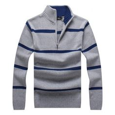 Mens Autumn Winter Stripe Stand Collar Zipper Sweater Casual Slim Fit Pullover Knitwear at Banggood