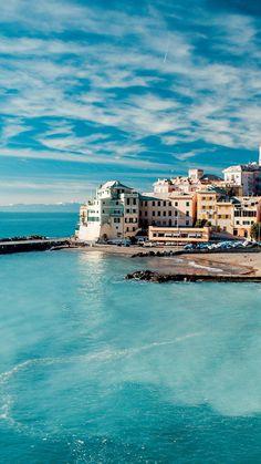The Cinque Terre iPhone 6 plus wallpaper - sky, clouds, sea, building, town, ocean, beach