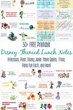 School may be coming far too soon for your kids, but maybe you can add a little fun to their return? Get over 50 FREE printable, Disney-themed Lunch Box Notes! We have put together pages featuring your favorite Princesses, Disney Junior, and Pixar characters, as well as movie quotes and trivia, and Disney Parks fun facts! Lunchbox Notes include The Little Mermaid, Inside Out, Mickey Mouse Clubhouse, Sofia the First, Winnie the Pooh, Jake and the Neverland Pirates, PJ Pals, Tinker Bell, B...