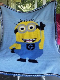 "Despicable Me Minion Handmade Crochet Afghan Throw Blanket 53"" x 60"" | eBay"