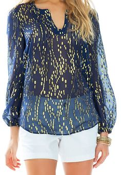 Lilly Pulitzer Colby Silk Metallic Dot Top in True Navy...Fourth of July style