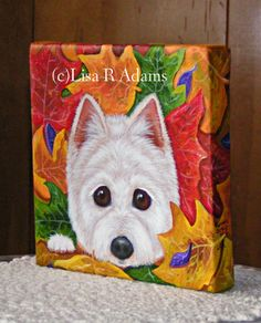 Westie Painting West Highland Terrier Art Fall by creationarts, $29.99