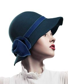 d6f2a035b22 1920s Style Hats Bow Wool Bell Cloche Bucket Hat  27.99 AT  vintagedancer.com Fishers Hat