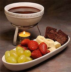 Chocolate Fondue! Serve Cocolate Merlot Fudge with a tray of fresh fruit and brownies for dipping.