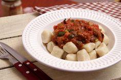 Nhoque Vegano - batata doce e asterix