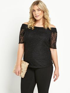 So Fabulous Lace Bardot Top. All over lace bardot top. Short sleeves.Colours: Black. Shell: 95% polyamide, 5% elastane, Lining: polyester. Machine washable.