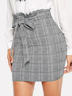 SheIn offers Paperbag Waist Houndstooth Fitted Skirt & more to fit your fashionable needs. Source by mom_stylist Girly Outfits, Skirt Outfits, Trendy Outfits, Dress Skirt, Cute Outfits, Pola Rok, Vestidos Vintage, Fitted Skirt, Cute Skirts