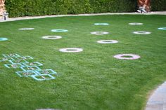 Party game idea: spray paint games on the grass using large stencils! 2 bottles of spray paint = $8