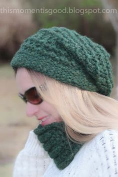 This Moment is Good...: LOOM KNIT LACE & RIDGE SLOUCH HAT PATTERN