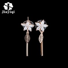 Jiayiqi(Jiayiqi) Long Earrings For women Fashion Flower boucle d'oreille femme Jewelry Cubic Zirconia Plant Earrings Brincos #Affiliate