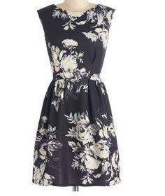 Vintage Inspired ModCloth Monochrome At Last Dress