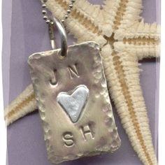 Brass Fine Silver and Sterling Lovers Necklace Metal Stamping, Sterling Silver Chains, Dog Tag Necklace, Initials, Lovers, Pendants, Brass, Christmas Ornaments, Handmade